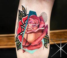 Red Rose tattoo by Chris Rigoni