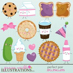 Perfect Pair clipart set comes with 9 cute graphics including: milk & cookie pair, peanut butter and jelly pair, donut and coffee pair, pickle and ice cream pair, pie and whipped topping pair, a bow, a party hat and 2 hearts!