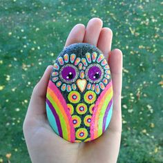 Hand Painted Neon Owl Stone Paperweight by fabbys on Etsy