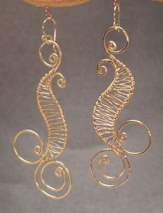 Nouveau 89 Hammered wired swirl earrings by CalicoJunoJewelry, $108.00