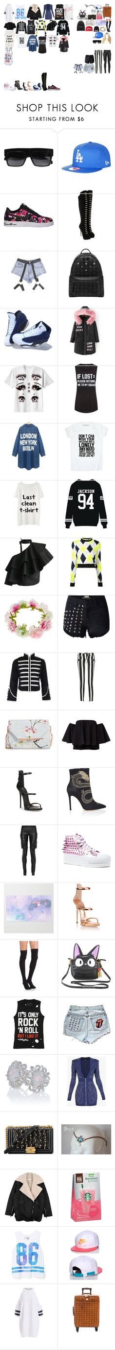 """""""Packing for Tour"""" by kaelighofficial ❤ liked on Polyvore featuring CÉLINE, Topshop, NIKE, Charlotte Olympia, MCM, WithChic, Private Party, Local Heroes, Chicwish and MSGM"""