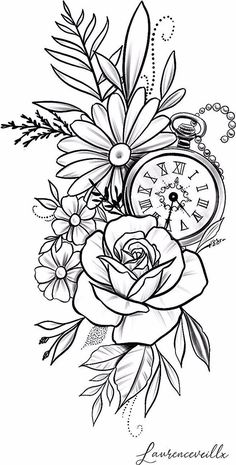 Pencil Art Drawings, Art Drawings Sketches, Tattoo Sketches, Sketch Tattoo Design, Flower Sketches, Clock Tattoo Design, Floral Tattoo Design, Flower Tattoo Designs, Arrow Tattoo Design