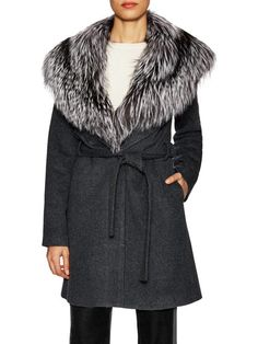 Wool Belted Coat with Fox Collar by Ava