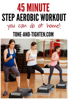 Minute Step Workout Challenge 45 Minute Step Aerobic Workout you can do at home! Minute Step Aerobic Workout you can do at home! Tone-and- Step Aerobic Workout, Step Up Workout, Aerobics Workout, Workout Challenge, Aerobic Exercises, Ladies Workout, Workout Plans, Step Ejercicios, Hiit
