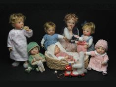 miniature dolls by French artisan Catherine Muniere