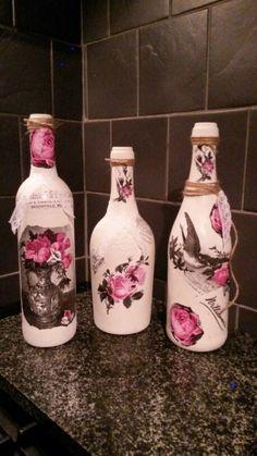 Decoupage bottles. Shabby chic. Vintage
