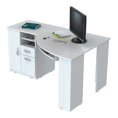 Save space in your home office with this stylish Inval corner desk. Constructed with solid composite wood, the desk has a white melamine finish for added durability. The desk features two open storage