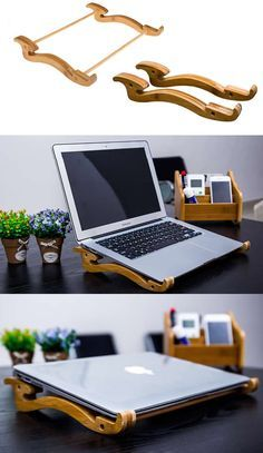 Portable Bamboo Desktop Laptop Multiple Angle Cooling Holder Stand for Apple MacBook Tablets iPad Laptop
