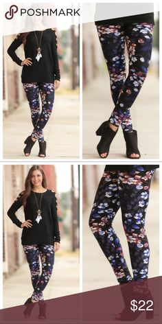 Fall Floral Print Leggings, OS, NWT These leggings are perfect for this time of year. One size fits most (2-12). 92% poly/8% spandex. PRICE IS FIRM...get them while they last! Already sold out and restocked once! Infinity Raine Pants Leggings