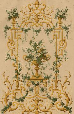 Décoration Rococo Jardin Ornement Floral - Architecture Lithographie XIXème