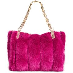 Betsey Johnson Lux Faux-Fur Medium Satchel with Chain Strap (€135) ❤ liked on Polyvore featuring bags, handbags, pink, satchel handbags, pink satchel purse, betsey johnson handbags, white purse and pink satchel