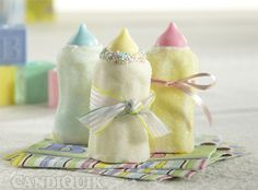 Marshmallow Bottles for a Baby Shower- put them on your food table or its a cute party favor if you want to put it in a bag too!