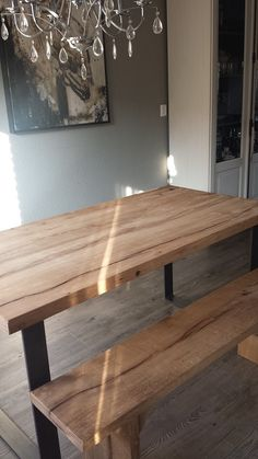 Custommade furniture. Oakwood, table with bench. To order.