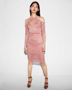 Lace Velvet Piped Cold Shoulder Sheath Dress. Pink lace dress. https://rstyle.me/n/cvvbfhb8ym7