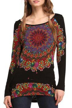 Floral Print Scoop Neck Long Sleeve T-Shirt
