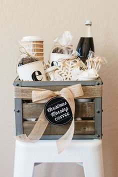 How to Make a Coffee Gift Basket | The TomKat Studio for DIY Network (FREE printable labels!) Find the coffee at weaverscoffee.com.