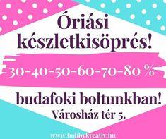 KÉSZLETKISÖPRŐ AKCIÓ  Ne feledjétek  A nyári szünet előtt hatalmas készletkisöprő akcióval várunk Benneteket budafoki boltunkban! A boltban megjelölt akciós termékeket 30-40-50-60-70-80 % kedvezménnyel vásárolhatjátok meg! Az akció csak az üzletben készleten lévő mennyiség erejéig érvényes!  Címünk: 1221 Budapest Városház tér 5.  Nyitvatartás: H-P: 9-16 óra Sz: 8-14 óra. Az akció a június 16-án kezdődő nyári szünetig érvényes! Nincs is jobb ebben az esős időben mint megbújni nálunk a boltban…