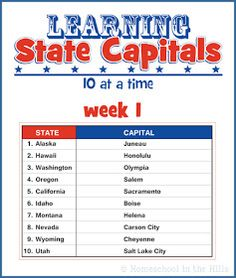 Homeschool in the Hills: Learning State Capitals - Week 1