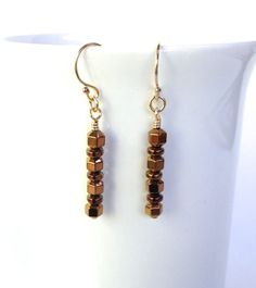 Brown Earrings Gold Dangle Earrings Unique Gift for Wife