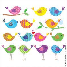 Bird Clipart Cute Birds Commercial Use Digital Animal Clip Art Colorful Love Birds Scrapbook Design Elements VECTOR Jpeg Png Images 10445 Vogel Clipart, Bird Clipart, Cute Clipart, Clipart Baby, Diy Invitation, Party Invitations, Line Artwork, Art Diy, Clipart Design
