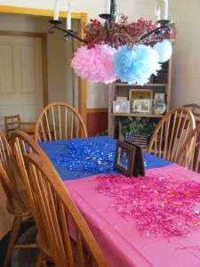 gender reveal party idea. Sit on the side you think the gender is.
