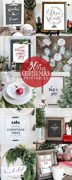 30 FREE Christmas printables! Find one to fit your decor style!