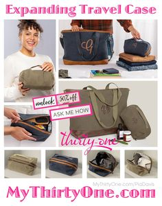 #31 Expanding Travel Case @ MyThirtyOne.com/PiaDavis Coordinates with the TakeALong Weekender, as well as... All Packed Duffle, Weekender, Cindy Tote, Window Shopper, Ruby Mini, Zipper Pouch, All About The Benjamins Wallet, thermals & more. Check out the great #Customer #REWARDS... 50% OFF ANY regular-priced item for every $50 you spend #Save on Utility #Totes Crossbody & Shoulder #Wallets #Pouches #Bins #Backpacks #LunchBags #Pillows... #MyThirtyOne #ThirtyOneGifts #ThirtyOne #PiaDavis