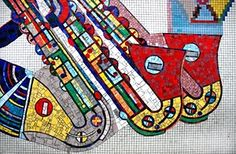 Detail of mosaics by Sir Eduardo Paolozzi at Tottenham Court Road underground station