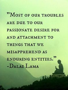 """Most of our troubles are due to our passionate desire for and attachment to things that we misapprehend as enduring entities."" ~Dalai Lama - Google Search"