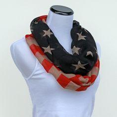 American Flag Scarf Fourth of July Scarf Patriotic Scarf by ModLux, $19.00