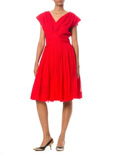 1980s Vintage Bright Red Cocktail Dress Size: by MORPHEWCONCEPT