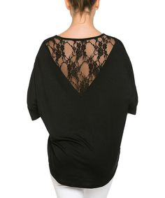 Look at this Open Gates Black Lace-Back Dolman Top on #zulily today!