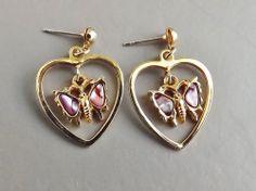 Pink abalone butterfly drop earrings .. gold tone heart pendant jewellery