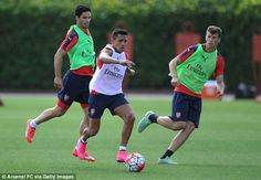 Alexis Sanchez in training for Arsenal on Saturday ahead of their Premier League opening g...