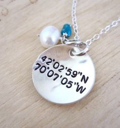 Geocaching Latitude and Longitude necklace by Tidepools on Etsy, $36.50 - This would be cute as our first cache or a cache that means something.