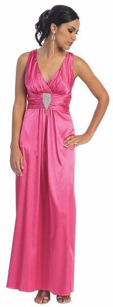 Cheap Fuchsia Formal Dress Long Satin Empire Waist Gown Tank Straps $36.99