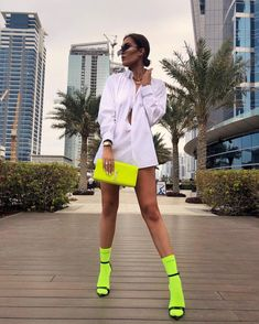 A guy in the lift told me he liked my socks because they were the same colour as his G wagon and that he sold bars of gold for a living. welcome to Dubai 🎾 Fashion 2020, Urban Fashion, Haute Couture Outfits, Neon Shirts, Dress Link, Girl Outfits, Fashion Outfits, My Socks, G Wagon
