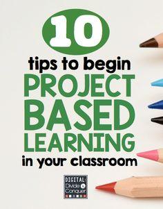 Información sobre cómo empezar a implementar el Aprendizaje Basado en Proyectos en tu clase. Son 10 consejos tales como: La elección de un tema que te interese. Empezar poco a poco. Se pueden hacer proyectos en papel. Usar recursos y materiales que tengas a mano. Haz preguntas con varias soluciones. Comparte las ideas de todos con todos. Toma en cuenta a todos los alumnos. Usa los recursos digitales disponibles, etc.