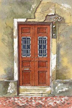 Venetian Door ~ John Edwards Gouache Painting, Watercolor Paintings, Watercolours, Painting Inspiration, Art Inspo, John Edwards, Watercolor Architecture, Advanced Photoshop, Urban Sketchers