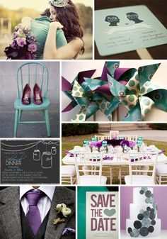 Purple Teal  Grey... really like these colors... maybe for a fall wedding against the natural outdoor fall colors... This would be SO beautiful at our church with the colors of the pews and floor!!!