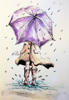 Rain Watercolor Painting, Limited Edition Print, Girl Under the Rain, Watercolor Painting, Rain walk