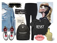 """""""Punk Girl"""" by wearyourdissent ❤ liked on Polyvore featuring AllSaints, Dr. Martens, ZeroUV, MCM, PINTRILL, Lime Crime and Theresistance"""