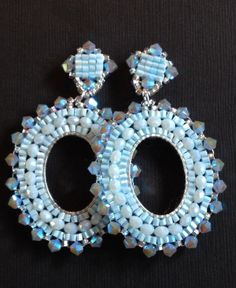 Beaded Post Earrings Light Blue Crystal Hoop by WorkofHeart