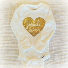 Sparkly Gold Glitter Newborn Heart Just Born baby onesie / baby girl hospital outfit
