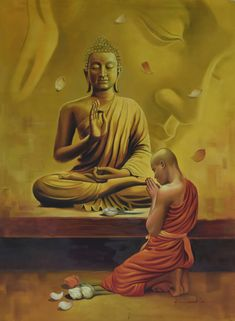 """Saatchi Art is pleased to offer the painting, """"Monk and the Master,"""" by Kamal Rao. Original Painting: Oil on Canvas. Size is 0 H x 0 W x 0 in. Budha Painting, Painting Art, Religious Paintings, Indian Art Paintings, Arte Shiva, Buddhist Symbols, Arm Tattoos, Hindu Tattoos, Buddha Tattoos"""