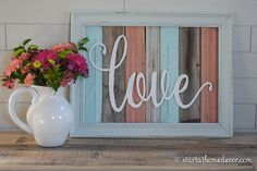 FINISHED Reclaimed Wood Love Sign by StartatHome on Etsy