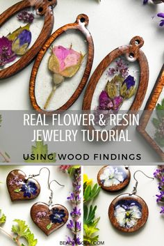 Tutorial : Real Flower and Resin Jewelry using Wood Frames and Shapes - The Bead. - Resin - Tutorial : Real Flower and Resin Jewelry using Wood Frames and Shapes – The Beading Gem& Jo - Resin Jewelry Tutorial, Resin Jewelry Making, Jewelry Making Tutorials, Resin Jewellery, Jewellery Making, Diy Resin Tutorial, Wood And Resin Jewelry, Wire Jewelry, Jewelry Shop