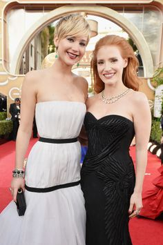 Jennifer Lawrence linked up with Jessica Chastain at the Golden Globes.