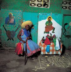 From: Vodou - Visions and Voices of Haiti by Phyllis Galembo. Azaka with a vévé for Ezili, Haiti, 1993