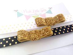 Choose 1 Baby Headband - Baby Girl Headbands - Newborn Headband - Gold Headband - Glitter - Bow - Baby - Photo Prop.Children